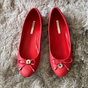 BCBG leather flats hot red 5.5 NWOT